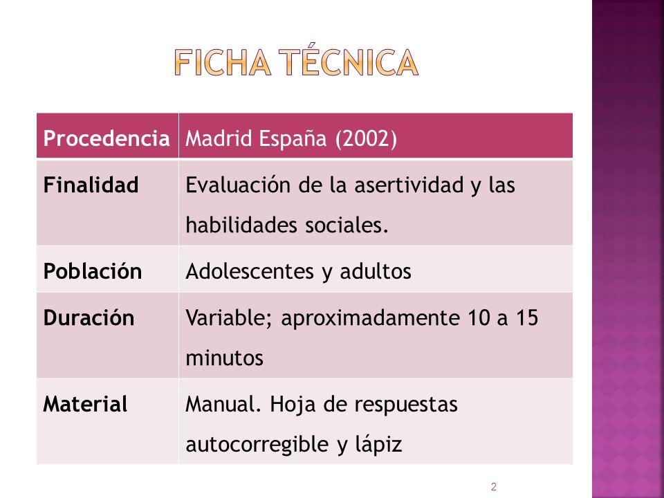Ficha técnica Procedencia Madrid España (2002) Finalidad