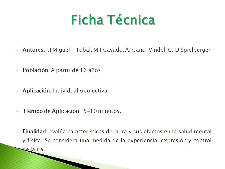 Ficha Técnica Autores: J.J Miguel – Tobal, M.I Casado, A. Cano-Vindel, C. D Spielberger. Población: A partir de 16 años.
