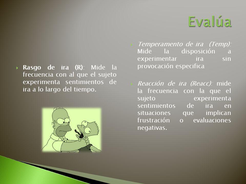 Evalúa Temperamento de ira (Temp): Mide la disposición a experimentar ira sin provocación especifica.