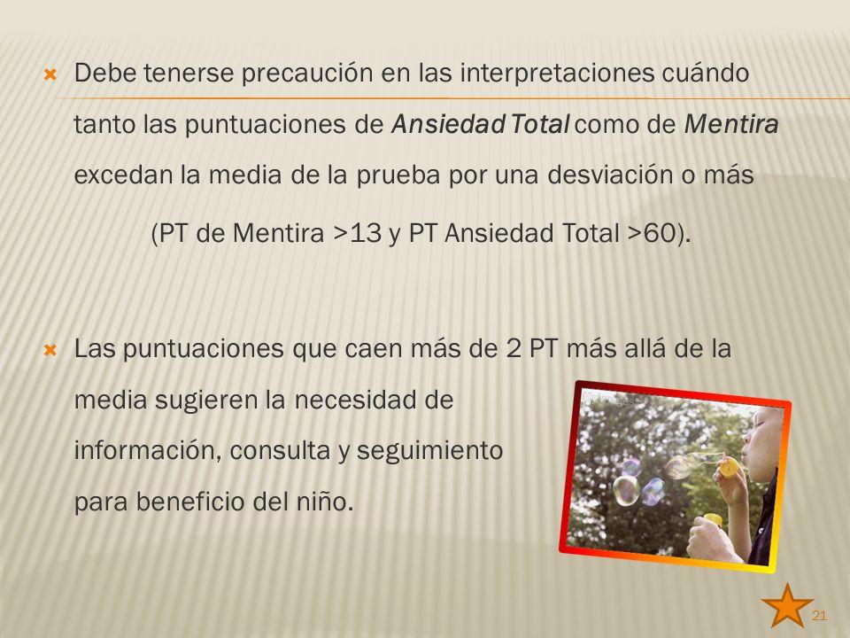 (PT de Mentira >13 y PT Ansiedad Total >60).