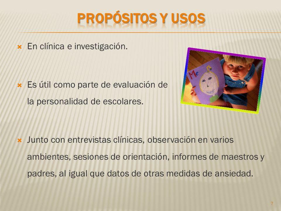 Propósitos y usos En clínica e investigación.