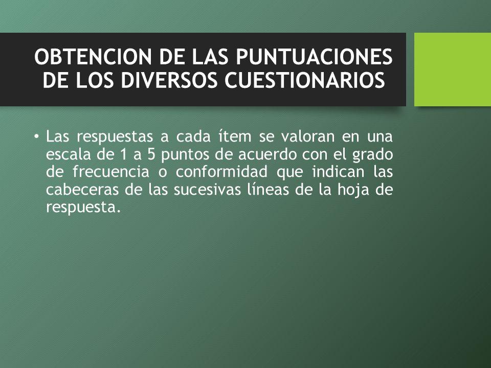 OBTENCION DE LAS PUNTUACIONES DE LOS DIVERSOS CUESTIONARIOS