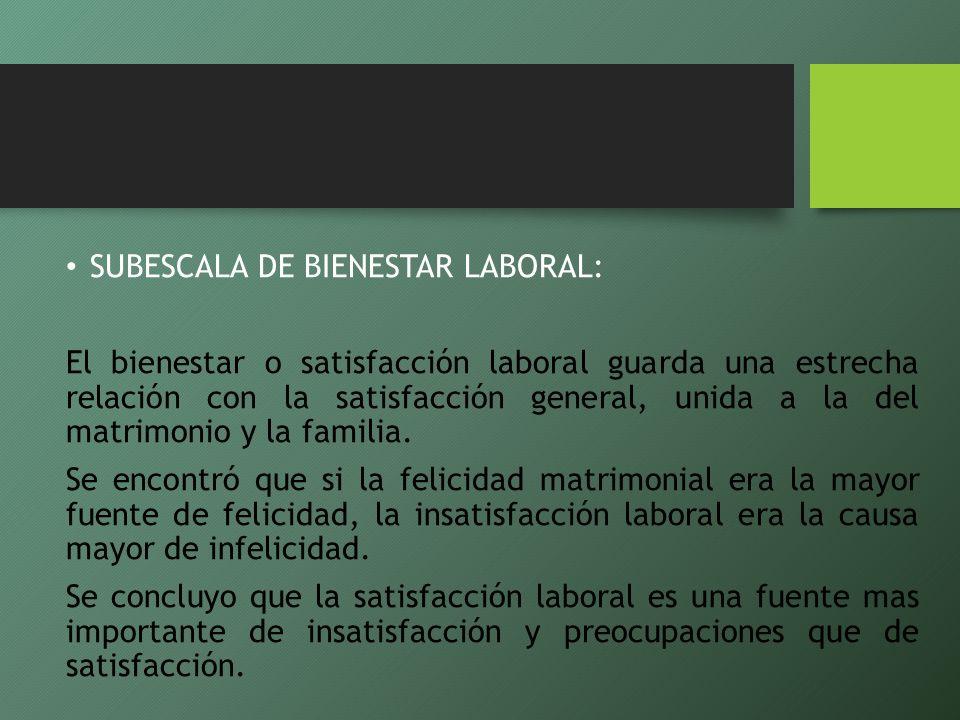 SUBESCALA DE BIENESTAR LABORAL: