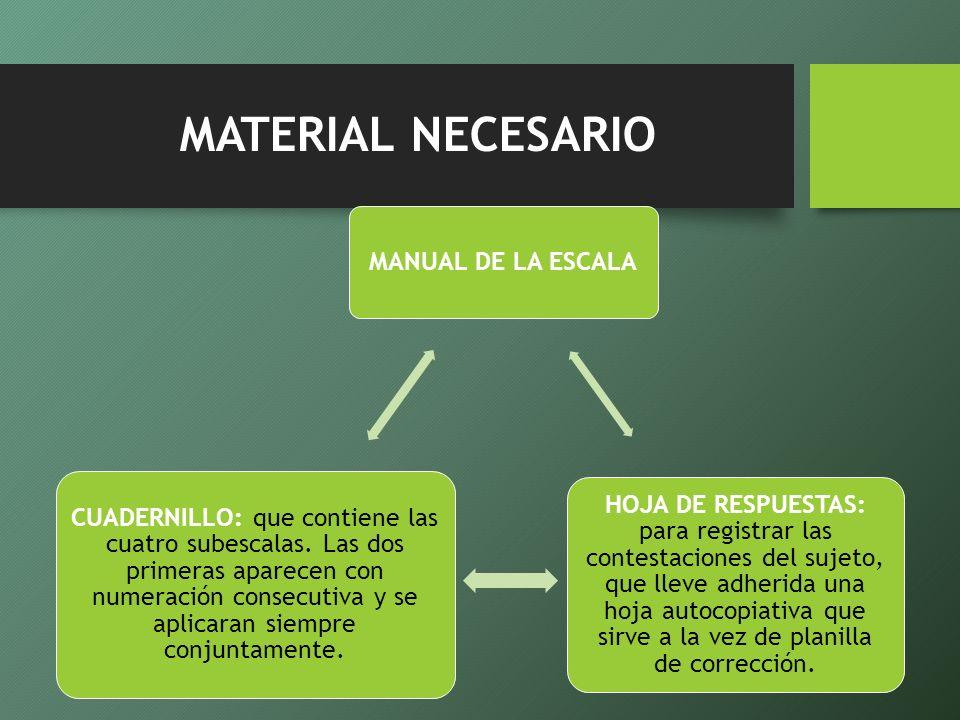 MATERIAL NECESARIO MANUAL DE LA ESCALA