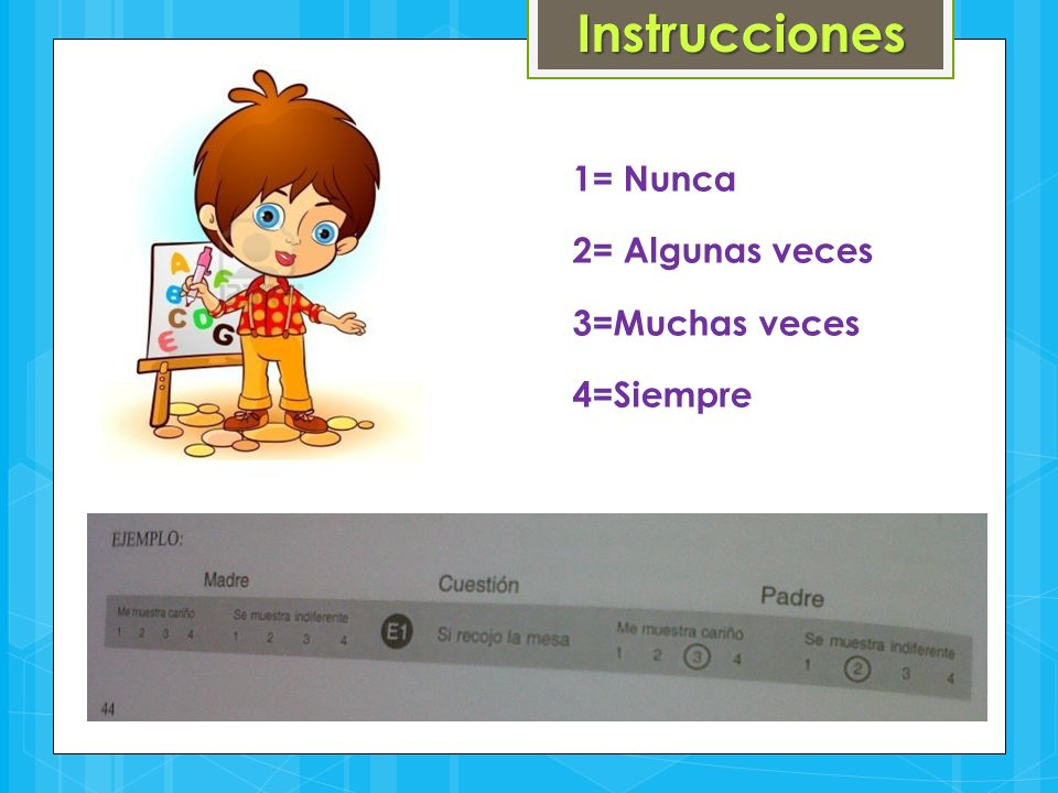Instrucciones 1= Nunca 2= Algunas veces 3=Muchas veces 4=Siempre