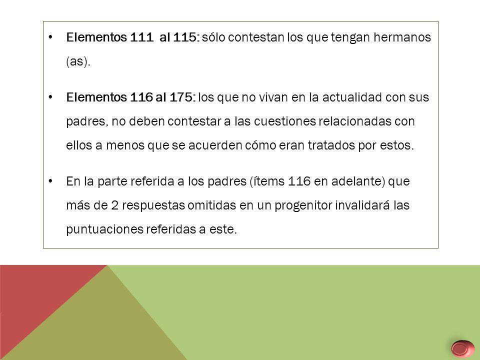 Elementos 111 al 115: sólo contestan los que tengan hermanos (as).