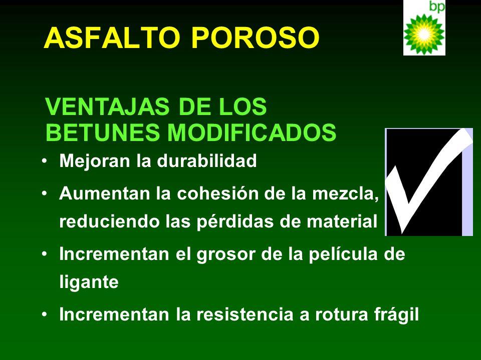 ASFALTO POROSO VENTAJAS DE LOS BETUNES MODIFICADOS