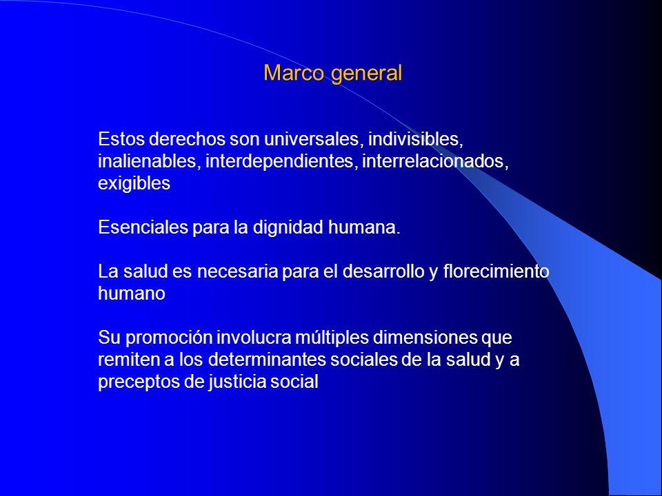 Marco general Estos derechos son universales, indivisibles, inalienables, interdependientes, interrelacionados, exigibles.
