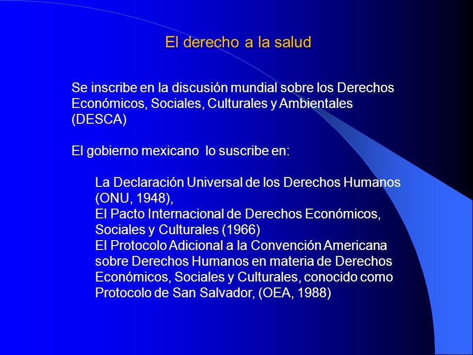 El derecho a la salud Se inscribe en la discusión mundial sobre los Derechos Económicos, Sociales, Culturales y Ambientales (DESCA)