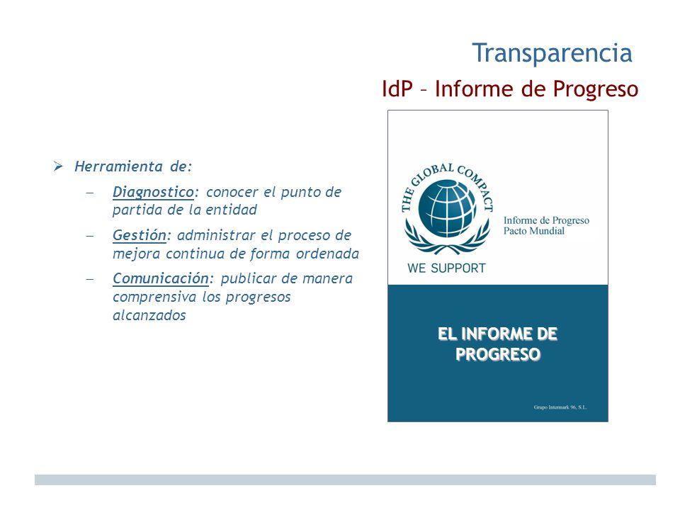Transparencia IdP – Informe de Progreso EL INFORME DE PROGRESO
