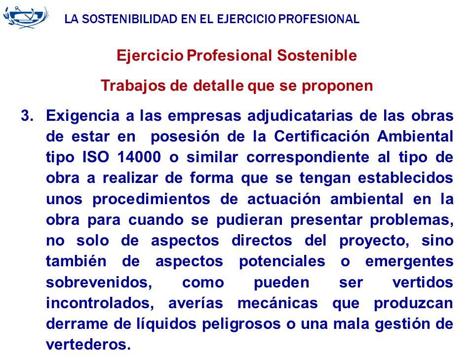 Ejercicio Profesional Sostenible Trabajos de detalle que se proponen