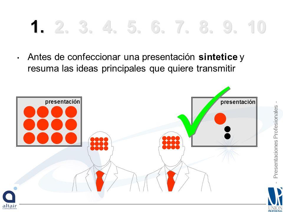 1. 2. 3. 4. 5. 6. 7. 8. 9. 10 Antes de confeccionar una presentación sintetice y resuma las ideas principales que quiere transmitir.