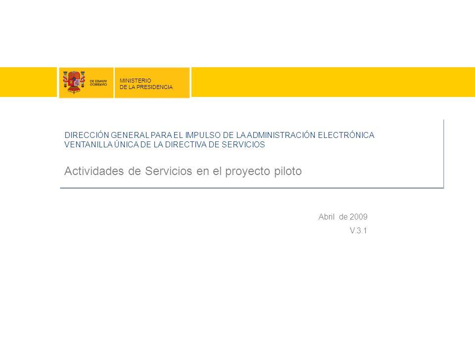 Actividades de Servicios en el proyecto piloto