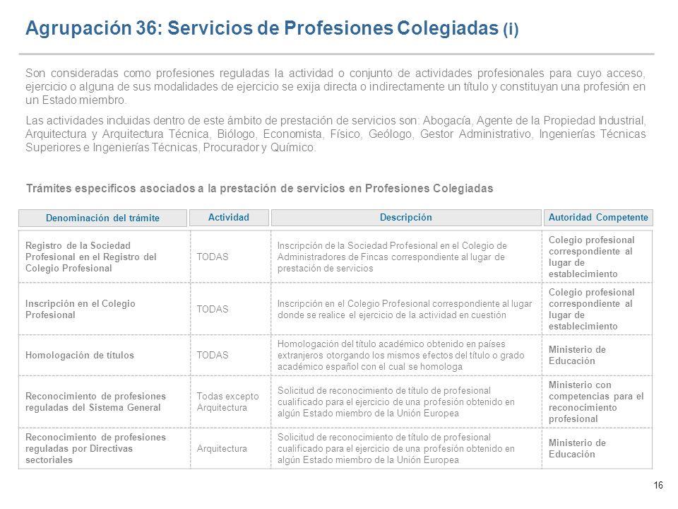 Agrupación 36: Servicios de Profesiones Colegiadas (i)
