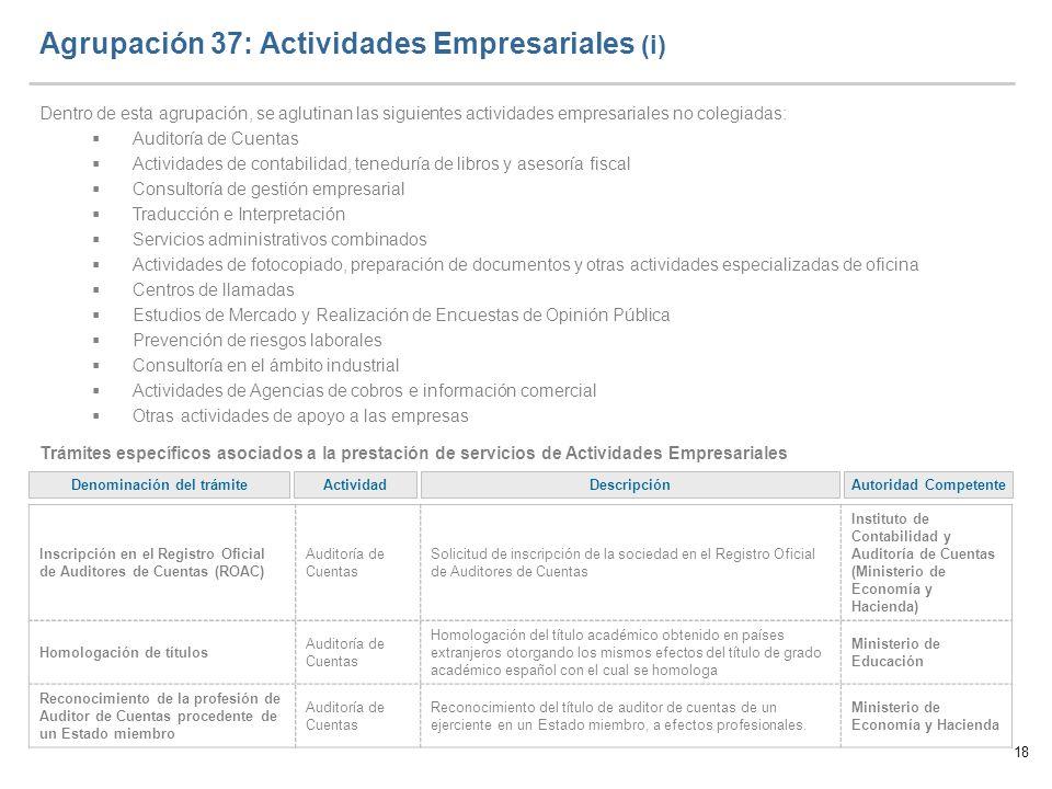 Agrupación 37: Actividades Empresariales (i)