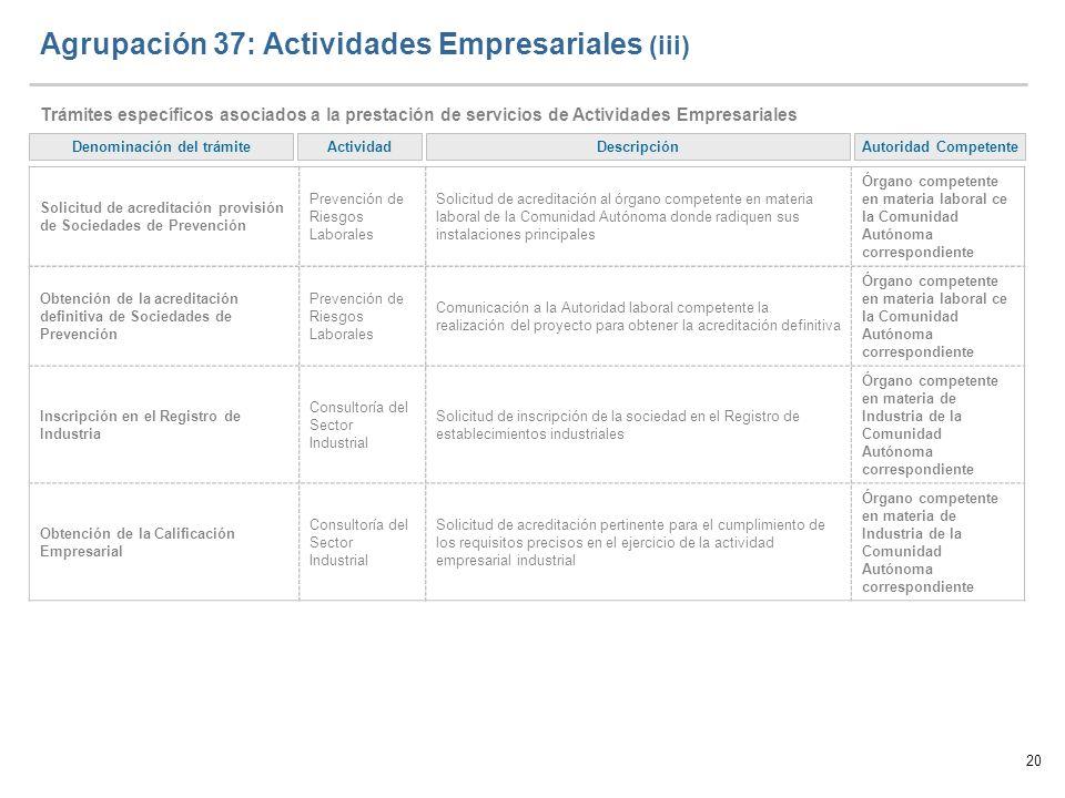 Agrupación 37: Actividades Empresariales (iii)
