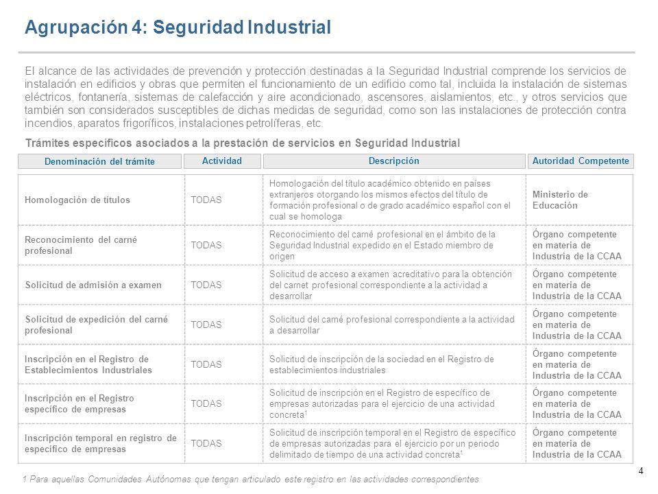 Agrupación 4: Seguridad Industrial