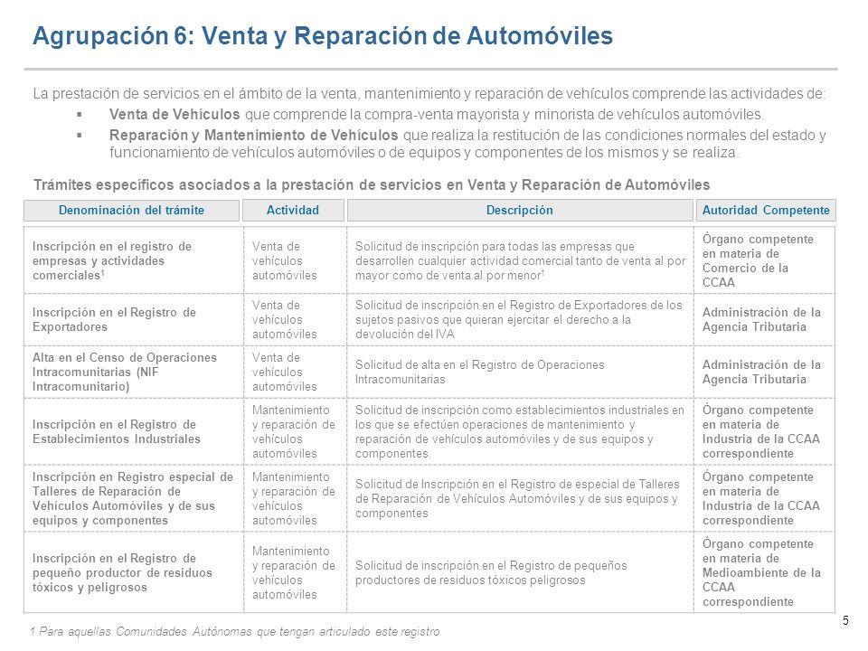 Agrupación 6: Venta y Reparación de Automóviles