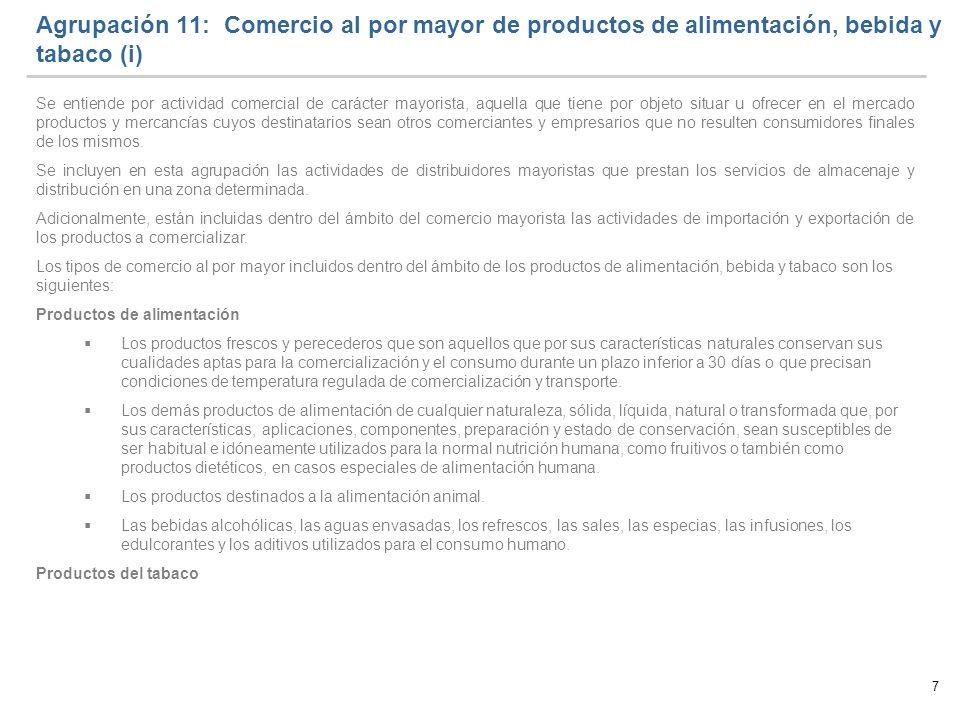 Agrupación 11: Comercio al por mayor de productos de alimentación, bebida y tabaco (i)