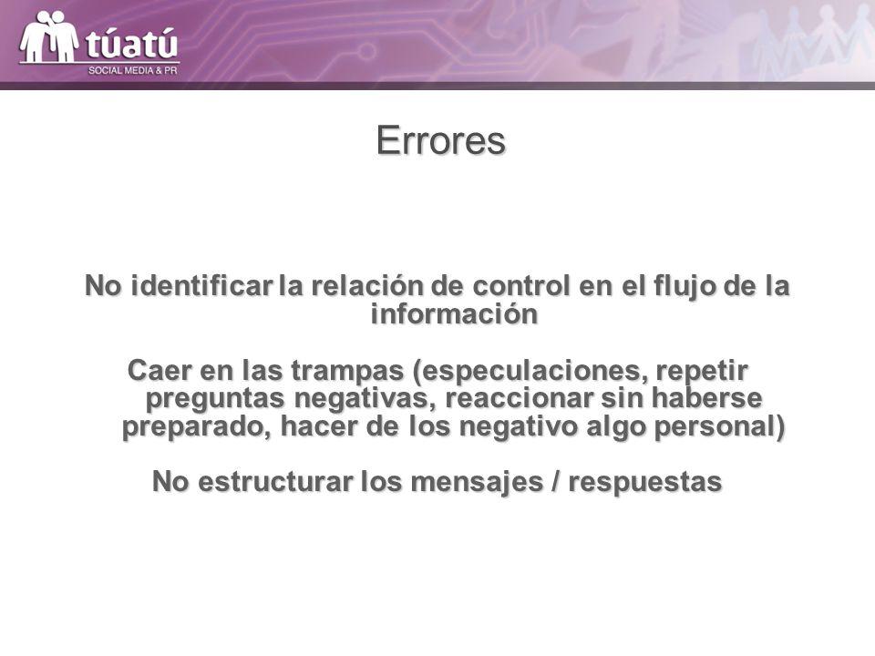 Errores No identificar la relación de control en el flujo de la información.