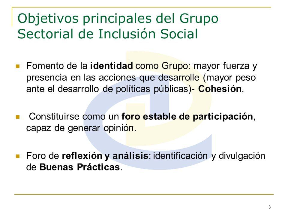 Objetivos principales del Grupo Sectorial de Inclusión Social
