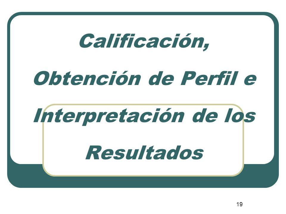 Calificación, Obtención de Perfil e Interpretación de los Resultados
