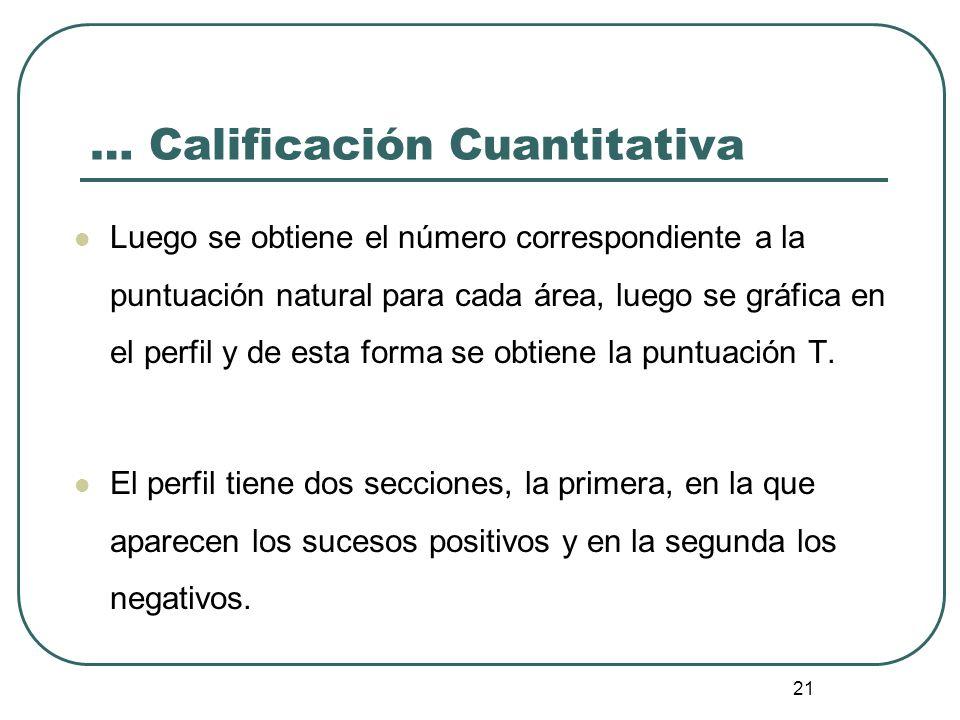 … Calificación Cuantitativa