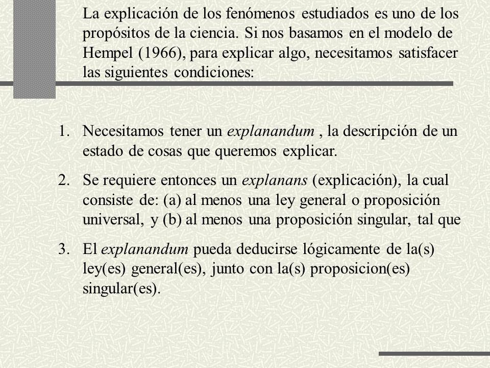La explicación de los fenómenos estudiados es uno de los propósitos de la ciencia. Si nos basamos en el modelo de Hempel (1966), para explicar algo, necesitamos satisfacer las siguientes condiciones: