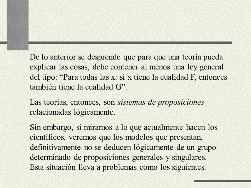 De lo anterior se desprende que para que una teoría pueda explicar las cosas, debe contener al menos una ley general del tipo: Para todas las x: si x tiene la cualidad F, entonces también tiene la cualidad G .