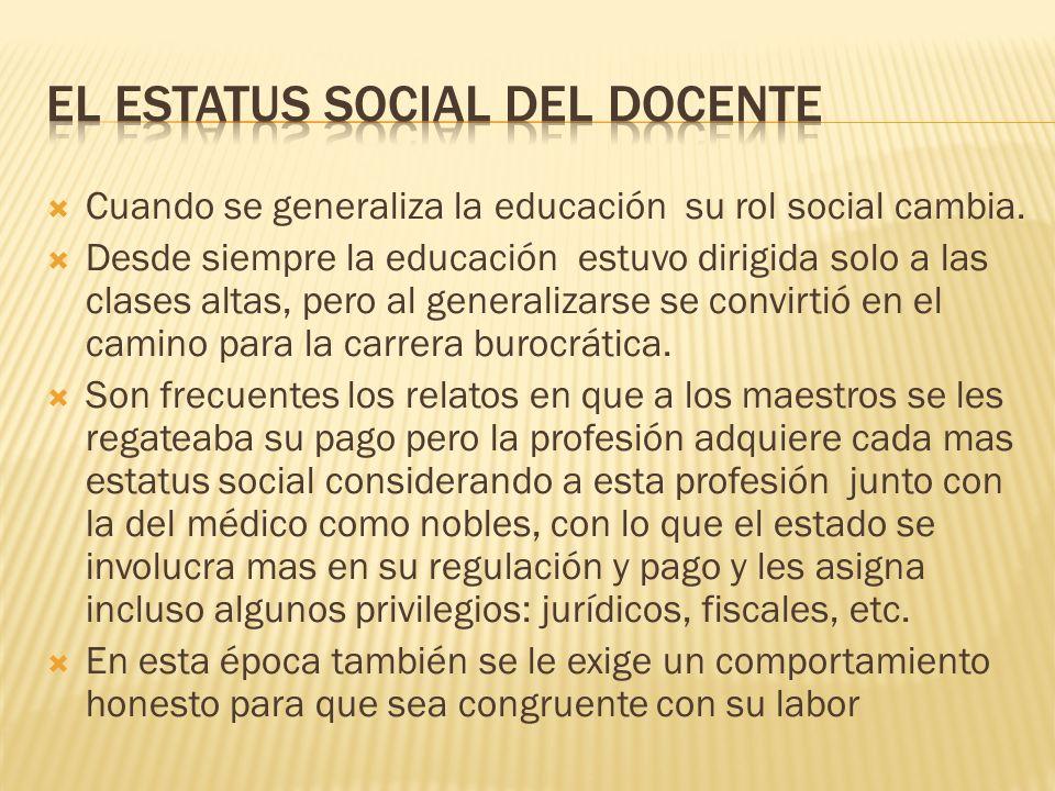 El estatus SOCIAL del docente