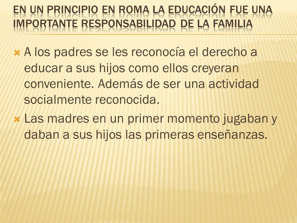 EN UN PRINCIPIO EN ROMA LA EDUCACIÓN FUE UNA IMPORTANTE RESPONSABILIDAD DE LA FAMILIA