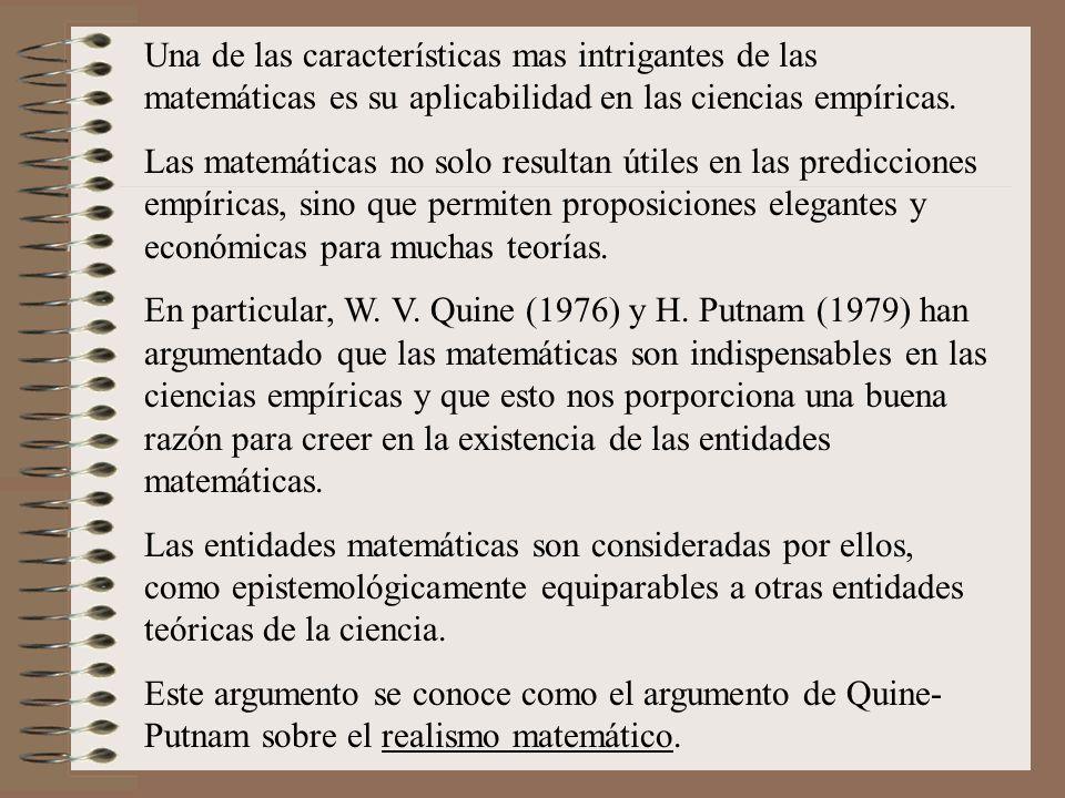 Una de las características mas intrigantes de las matemáticas es su aplicabilidad en las ciencias empíricas.
