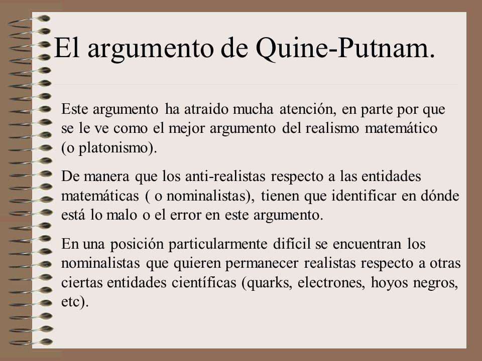 El argumento de Quine-Putnam.