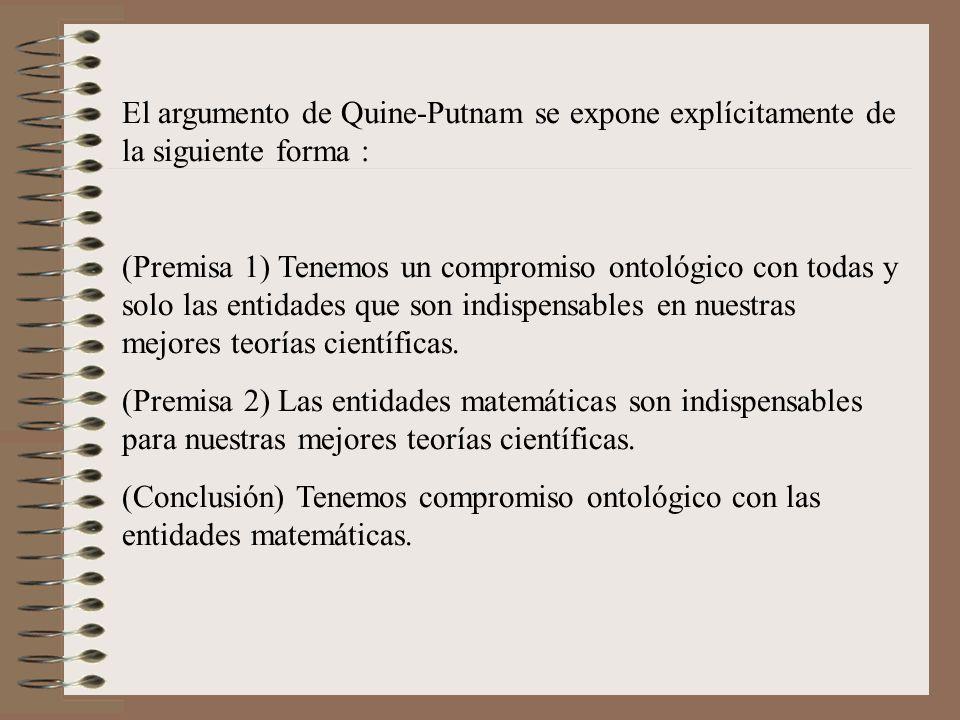 El argumento de Quine-Putnam se expone explícitamente de la siguiente forma :