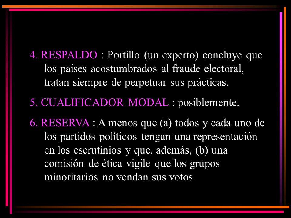 4. RESPALDO : Portillo (un experto) concluye que los países acostumbrados al fraude electoral, tratan siempre de perpetuar sus prácticas.