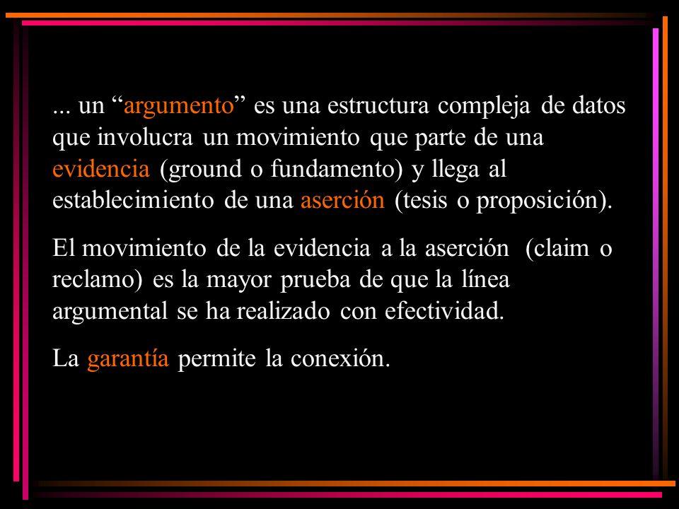 ... un argumento es una estructura compleja de datos que involucra un movimiento que parte de una evidencia (ground o fundamento) y llega al establecimiento de una aserción (tesis o proposición).