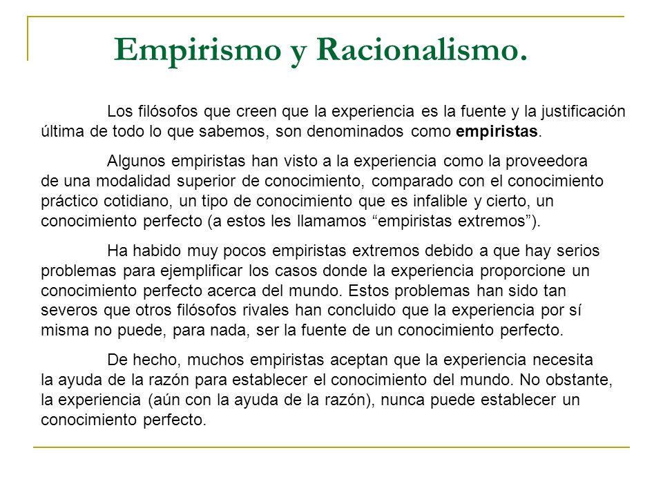 Empirismo y Racionalismo.