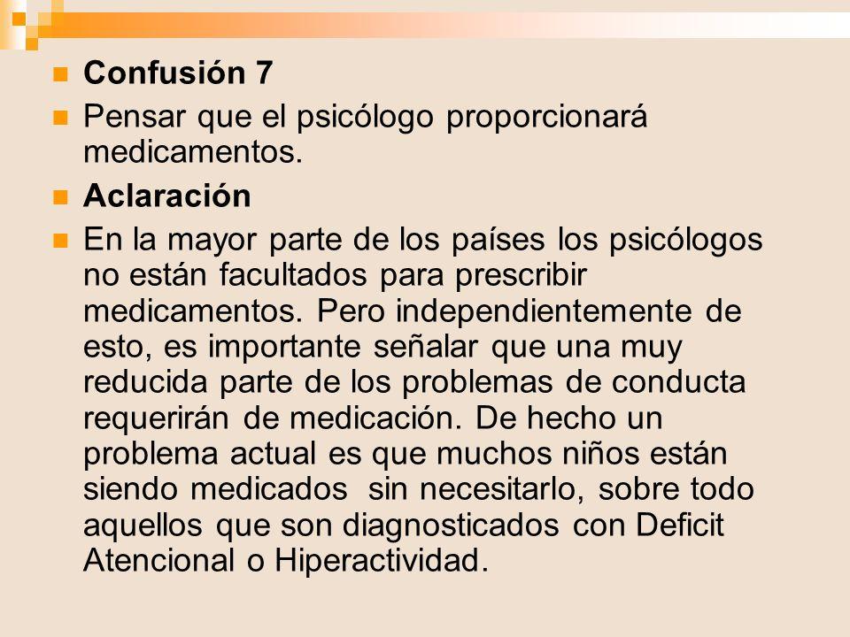 Confusión 7 Pensar que el psicólogo proporcionará medicamentos. Aclaración.