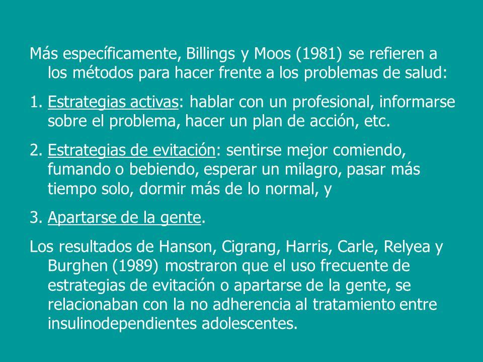 Más específicamente, Billings y Moos (1981) se refieren a los métodos para hacer frente a los problemas de salud: