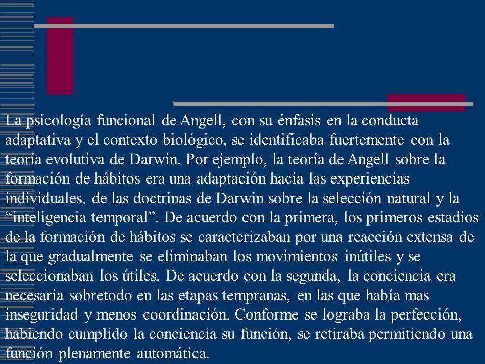La psicología funcional de Angell, con su énfasis en la conducta adaptativa y el contexto biológico, se identificaba fuertemente con la teoría evolutiva de Darwin.