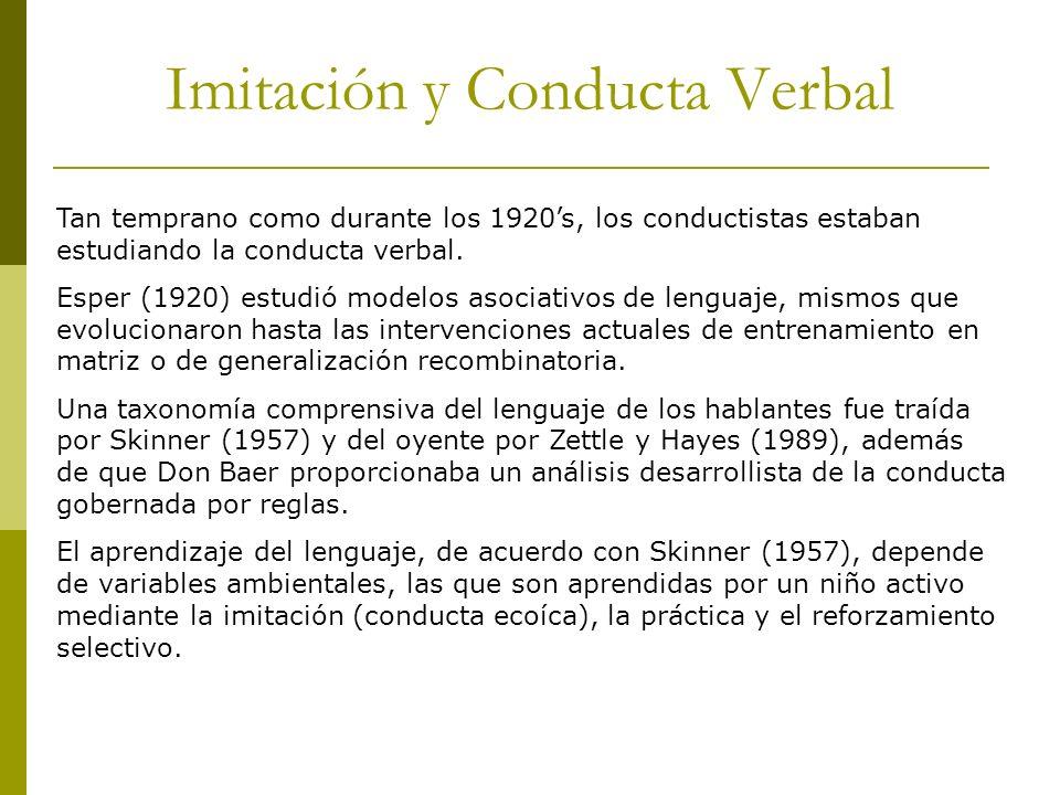 Imitación y Conducta Verbal