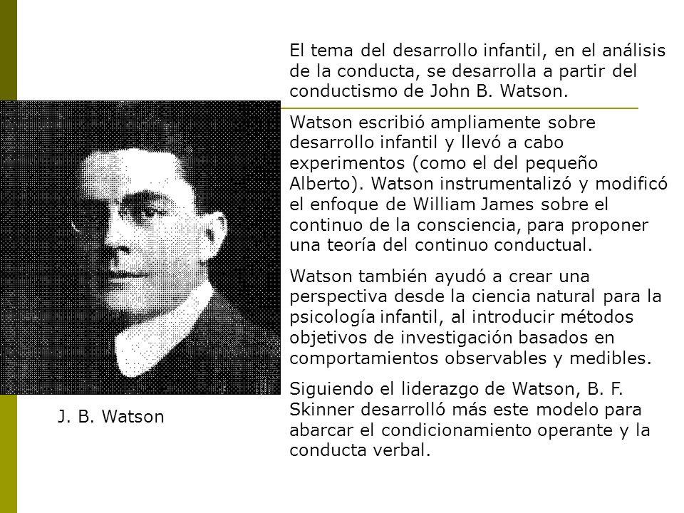 El tema del desarrollo infantil, en el análisis de la conducta, se desarrolla a partir del conductismo de John B. Watson.