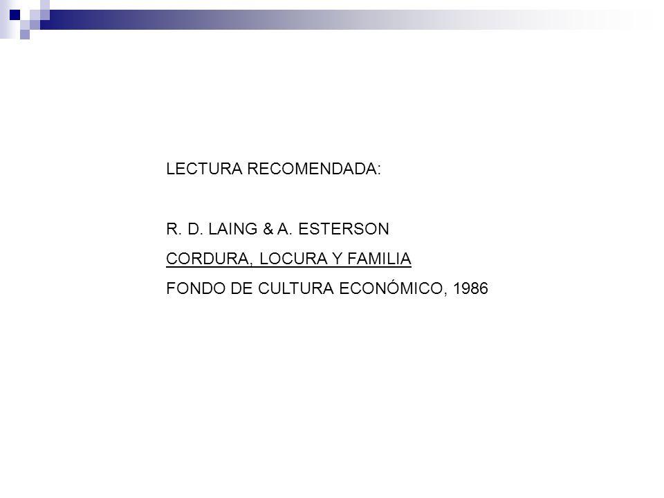 LECTURA RECOMENDADA: R. D. LAING & A. ESTERSON.