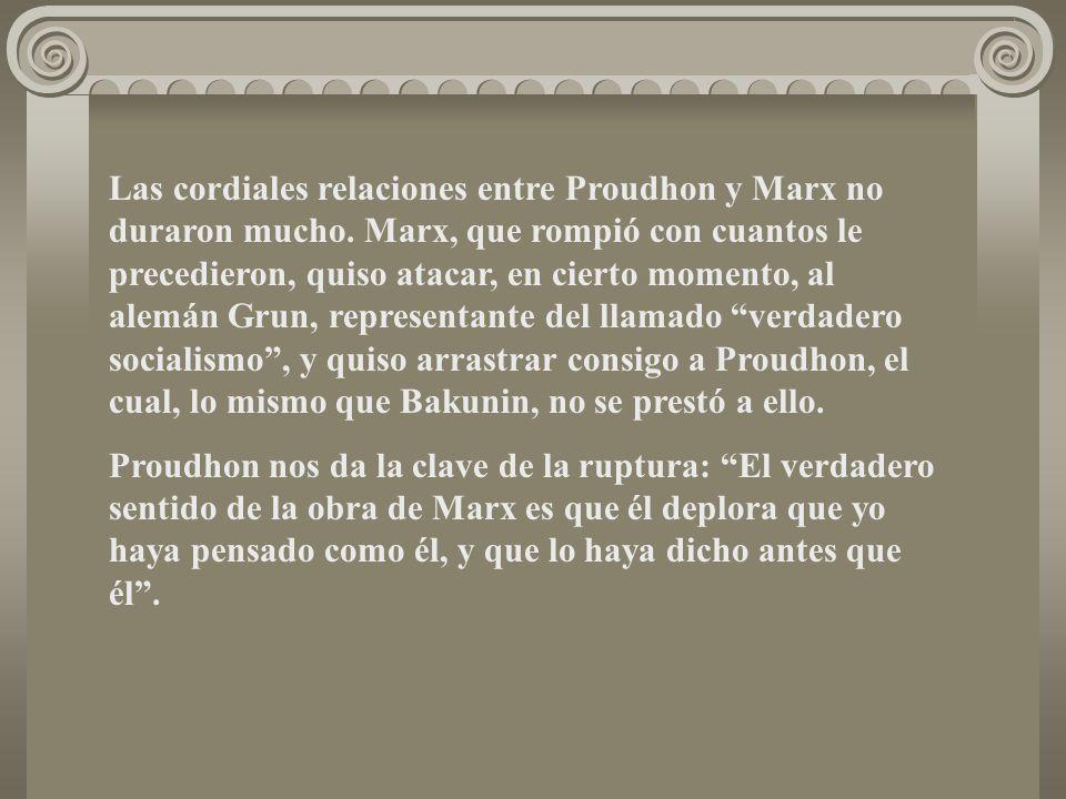 Las cordiales relaciones entre Proudhon y Marx no duraron mucho