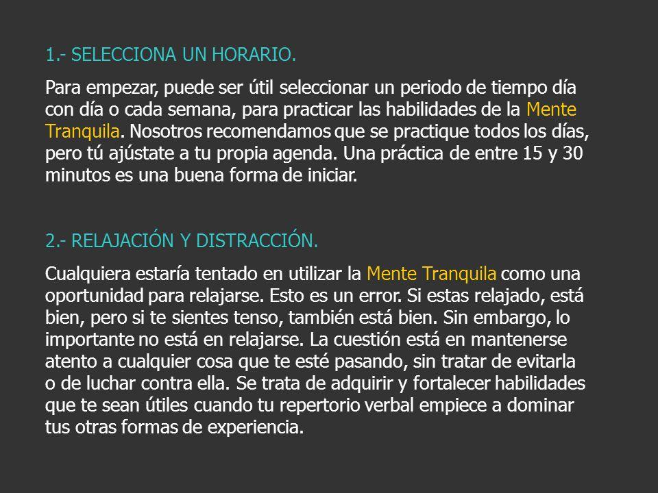 1.- SELECCIONA UN HORARIO.