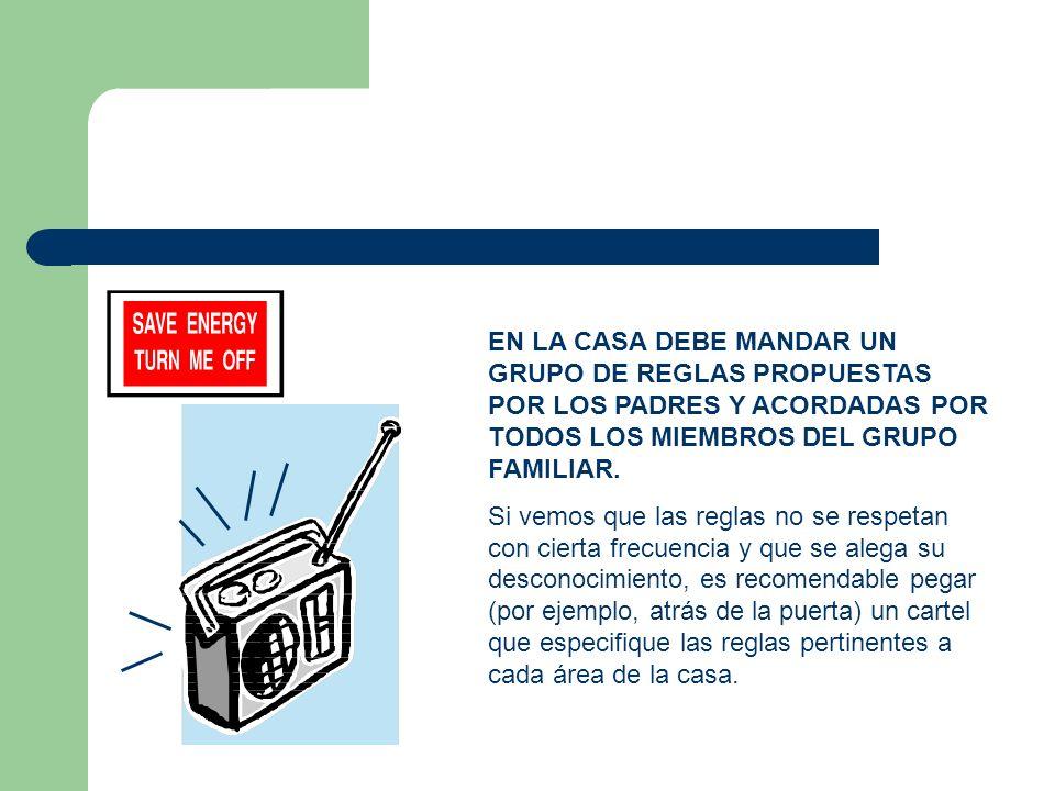 EN LA CASA DEBE MANDAR UN GRUPO DE REGLAS PROPUESTAS POR LOS PADRES Y ACORDADAS POR TODOS LOS MIEMBROS DEL GRUPO FAMILIAR.