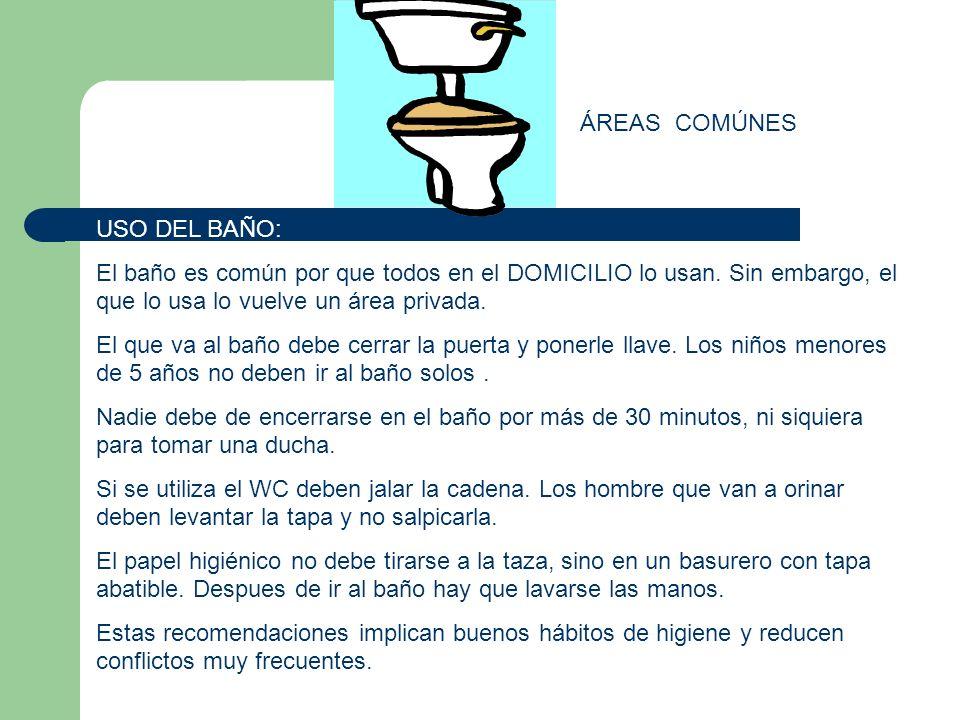 ÁREAS COMÚNES USO DEL BAÑO: El baño es común por que todos en el DOMICILIO lo usan. Sin embargo, el que lo usa lo vuelve un área privada.