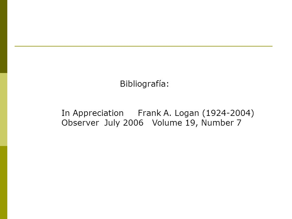 Bibliografía: In Appreciation Frank A.