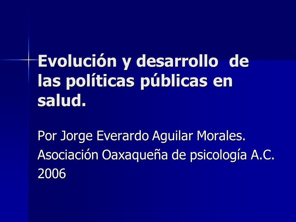 Evolución y desarrollo de las políticas públicas en salud.