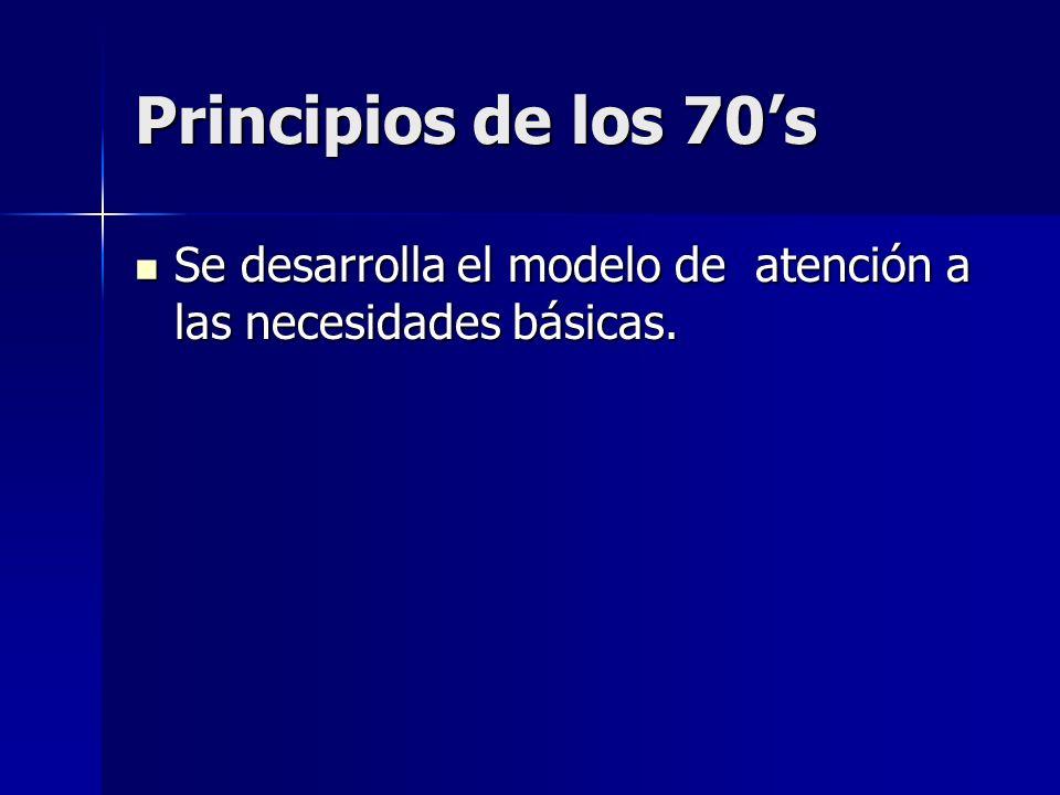 Principios de los 70's Se desarrolla el modelo de atención a las necesidades básicas.
